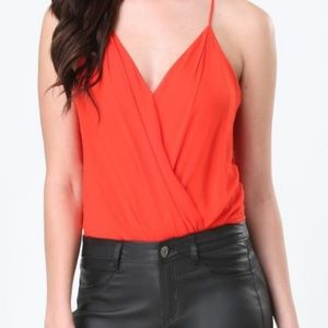 Angl Red Draped Surplice Bodysuit Tank Top/Cami